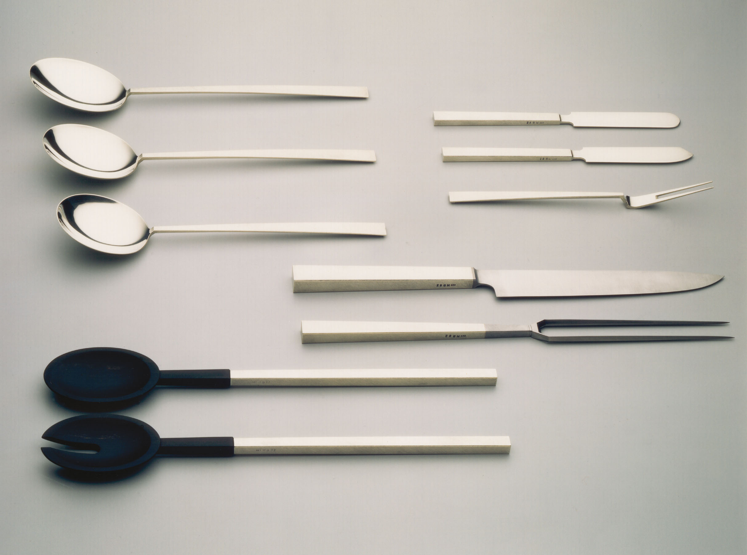 serving cutlery  1992  silver 925  high-grade steel  ebony  l  200-320  mm