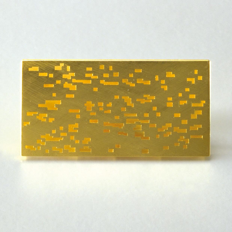 Brosche  2001  Gold  750  60x30  mm