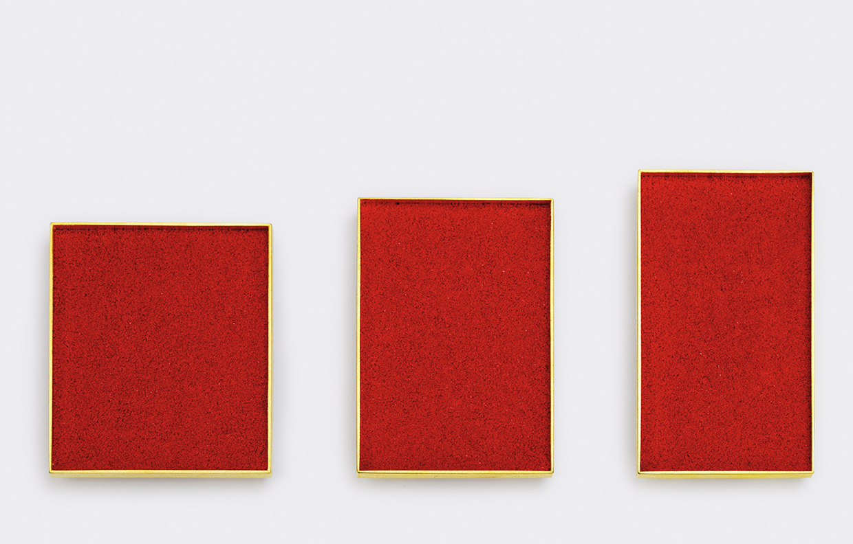 three  brooches  2011  gold  750  red  pigment  39x45,35x50,32x55mm