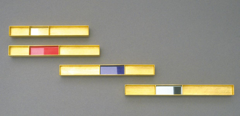Vier  Broschen  1991  Gold  750  Haematit  synth.  Spinell  und  Rubin