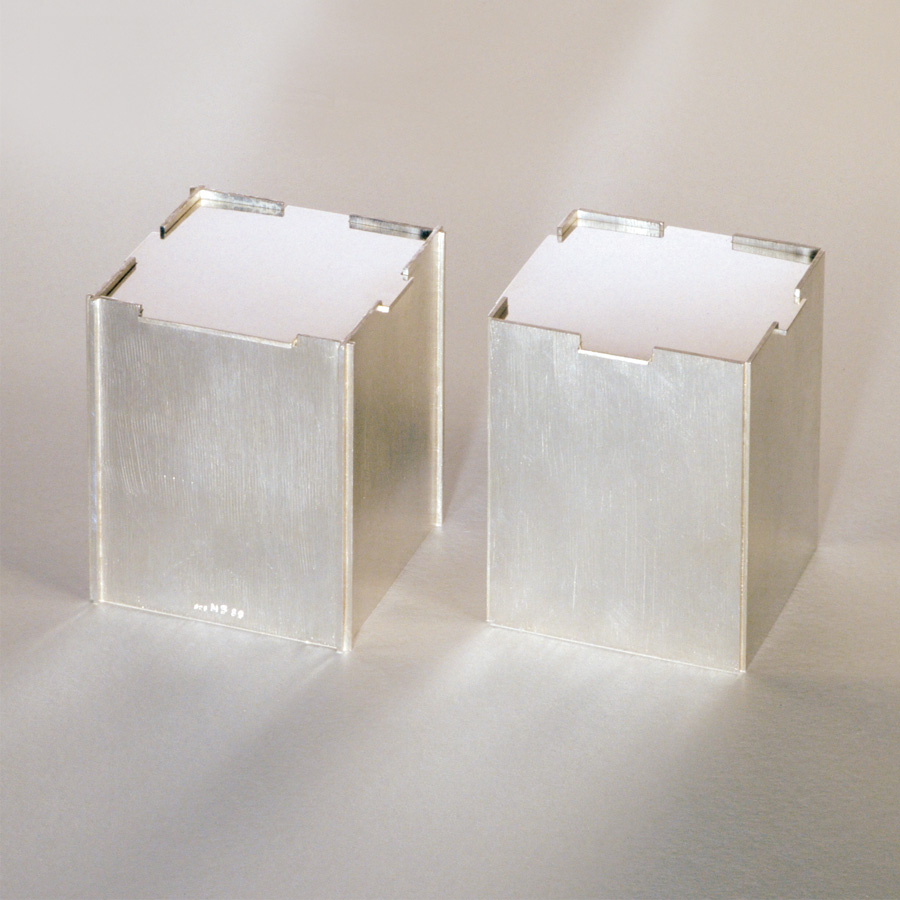 2  Dosen  1989  Silber 925  80x65x65  mm