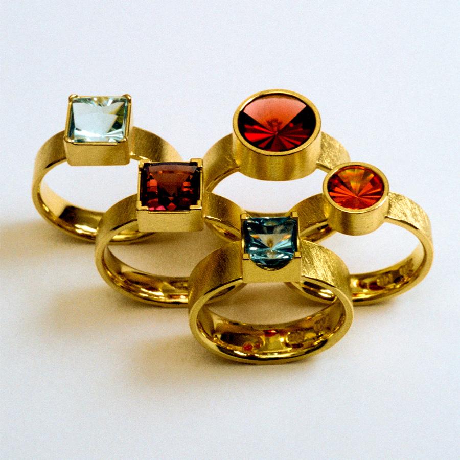 5  rings  2004  garnet  aquamarine  tourmaline  rodolit