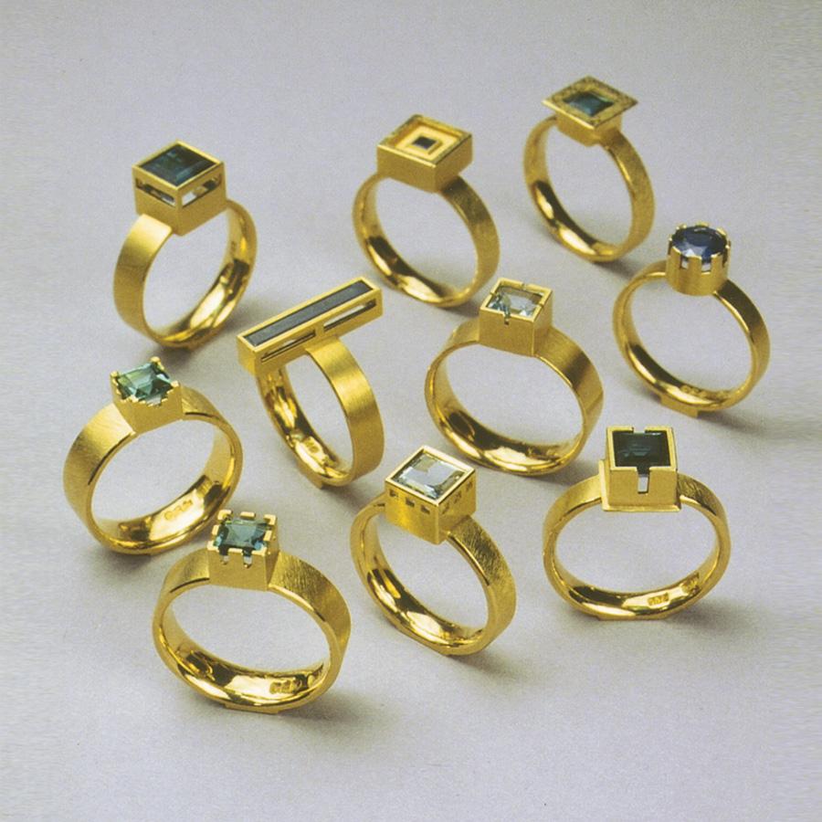 10  Ringe  2000  Gold 750  Saphir  Aquamarin  Turmalin