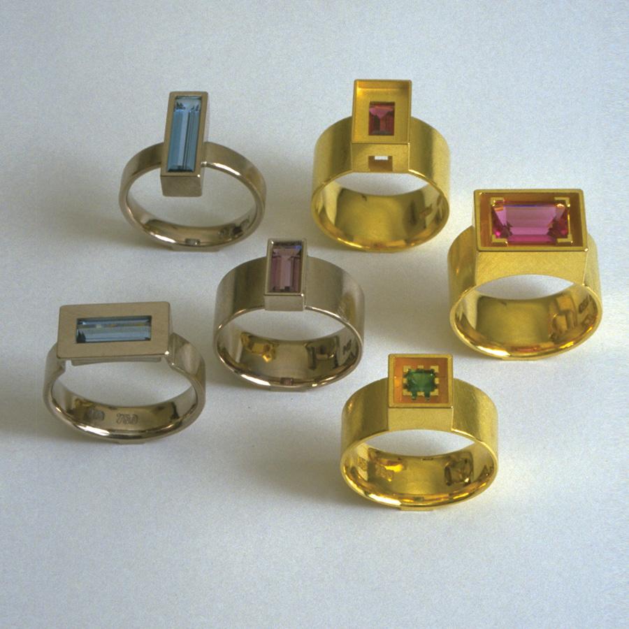6  Ringe  2002  Gold  Smaragd  Aquamarin  Turmalin