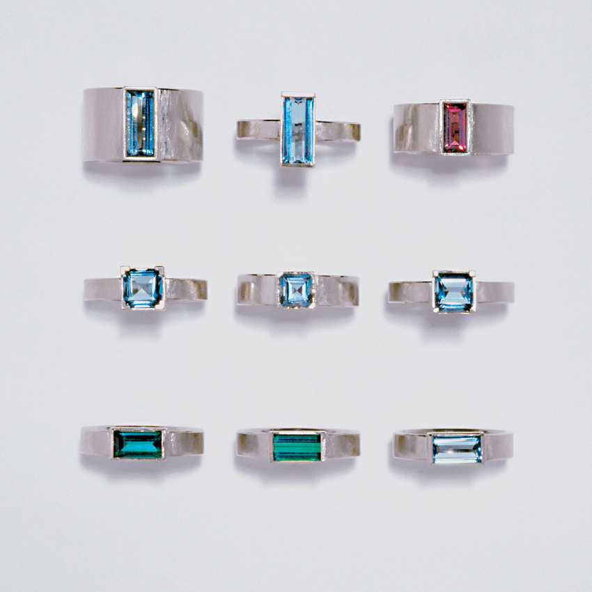 9  rings  white gold  750  aquamarine  tourmaline