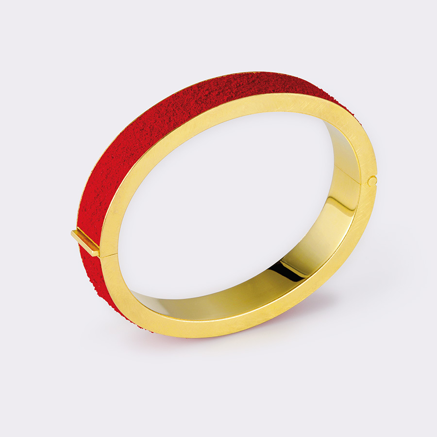 armreif  2007  gold  750  red  pigment  d  70  b  12  mm