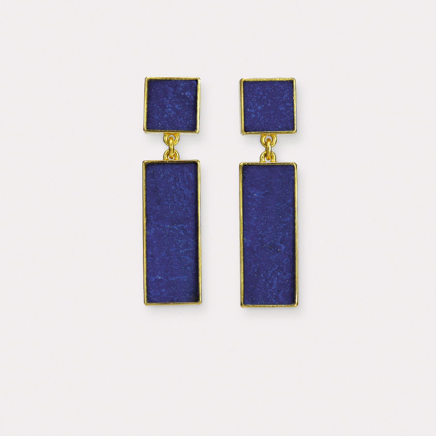 earrings  2017  gold  750  lapislazuli  32x8  mm