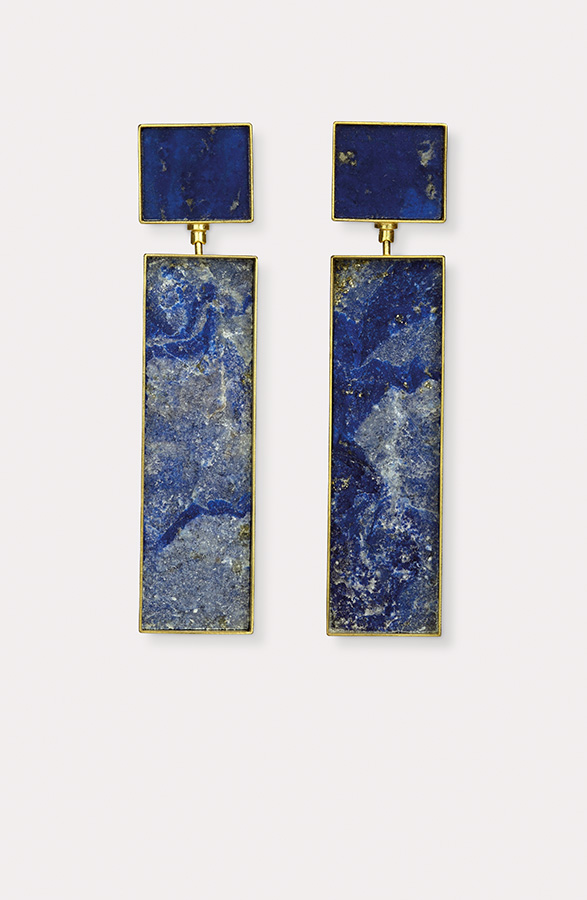 earrings  2017  gold  750  lapislazuli  42x13  mm