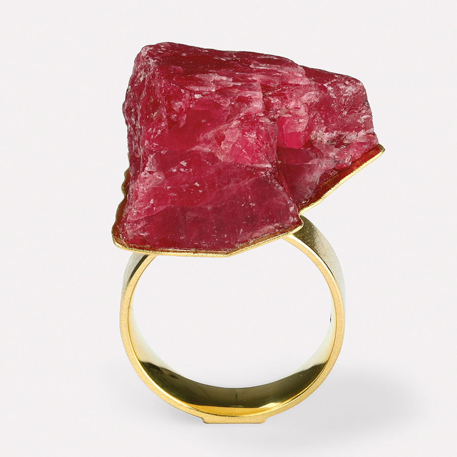 ring  2017  gold  750  rhodonit  25x21  mm