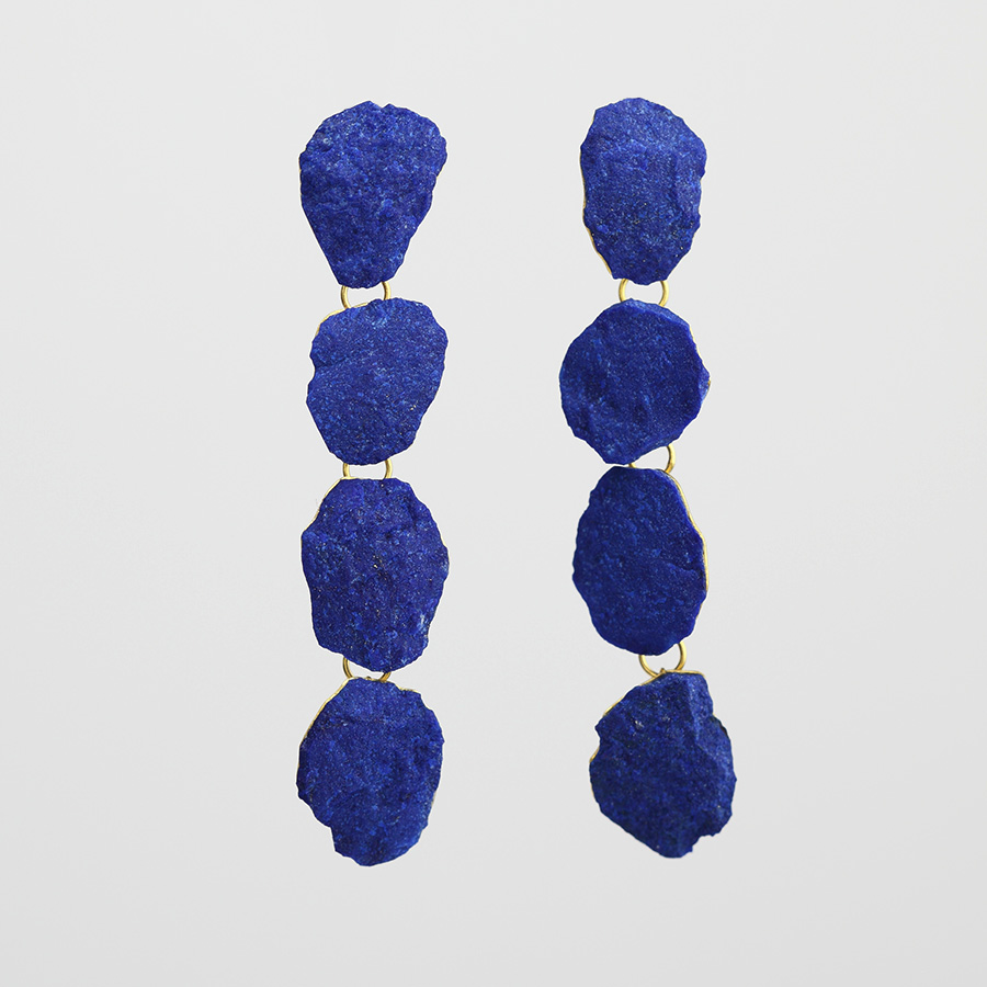 earrings  2015  gold  750  lapislazuli  63x12  mm
