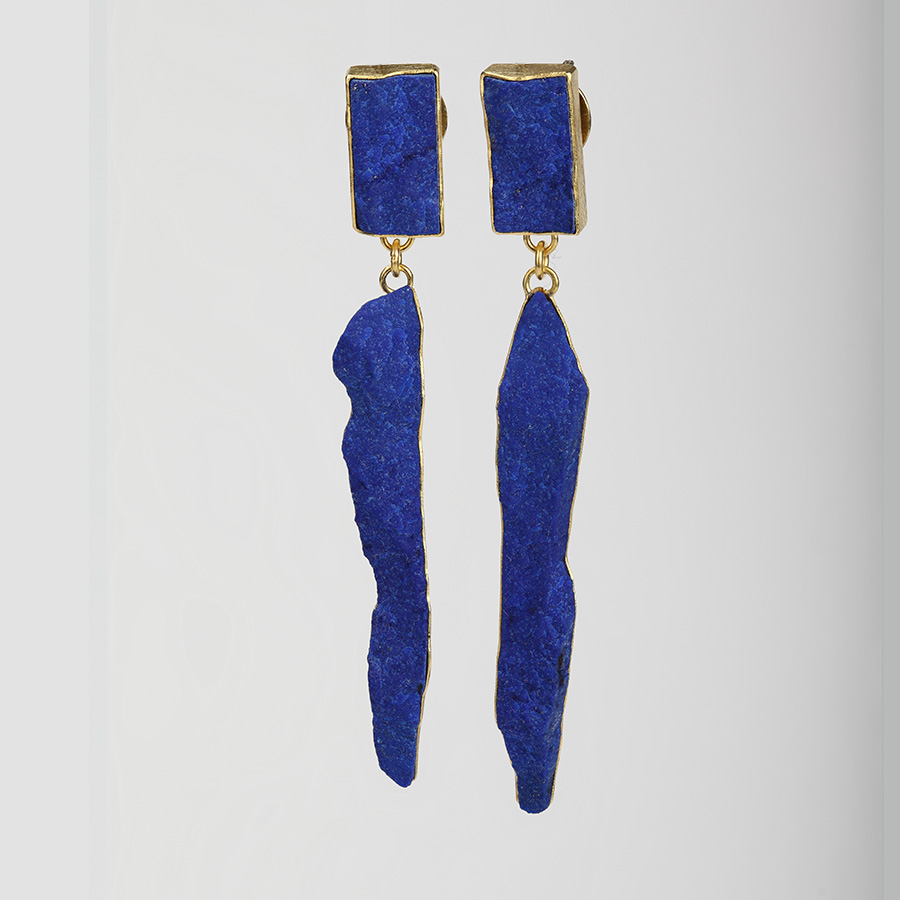 earrings  2016  gold  750  lapislazuli  65x8  mm